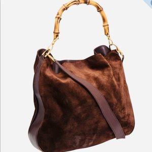 Gucci suede bamboo handbag